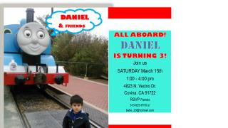 ALL ABOARD! DANIEL IS TURNING 3! Join us SATURDAY  March 15th 1:00 - 4:00 pm
