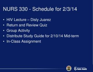 NURS 330 - Schedule for 2/3/14