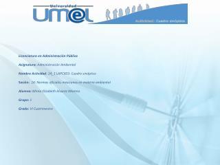 Licenciatura en Administración Pública Asignatura:  Administración Ambiental