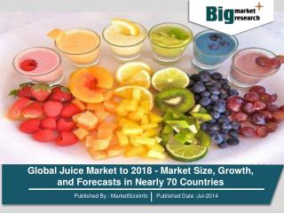Global Juice Market to 2018 - Market Size, Growth, and Forecasts in Nearly 70 Countries