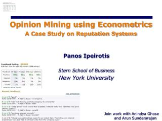 Opinion Mining using Econometrics  A Case Study on Reputation Systems