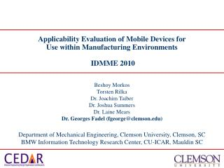 Applicability Evaluation of Mobile Devices for Use within Manufacturing Environments  IDMME 2010