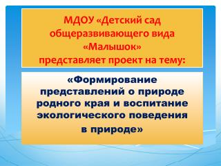 МДОУ «Детский сад общеразвивающего вида «Малышок» представляет проект на тему: