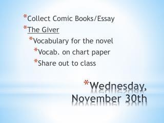 Wednesday, November 30th