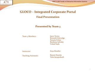 GLOCO – Integrated Corporate Portal  Final Presentation Presented by Team 3