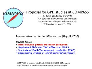 COMPASS II  proposal available at  :  CERN-SPSC-2010-014 preprint