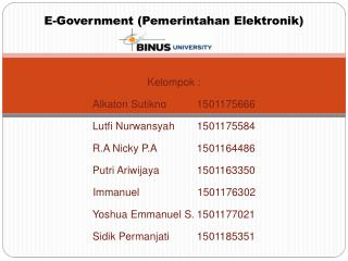 E -Government (Pemerintahan Elektronik)