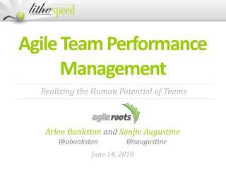 Agile Team Performance  Management