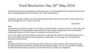 Food Revolution Day 16 th  May 2014