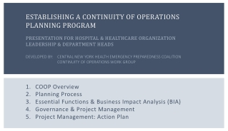 Planning for Operations  A Program Overview