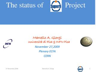 Marcello A.  Giorgi Università di  Pisa & INFN Pisa November 27,2009 Plenary ECFA CERN