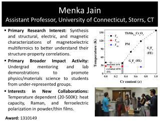 Menka  Jain Assistant Professor, University of  Connecticut, Storrs, CT