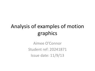 Analysis of examples of motion graphics
