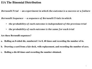 11A The Binomial Distribution