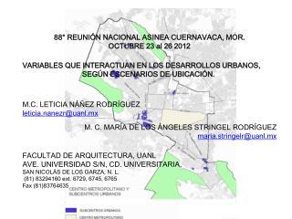 88° REUNIÓN NACIONAL ASINEA CUERNAVACA, MOR. OCTUBRE 23 al 26 2012
