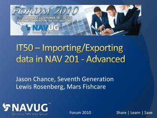 IT50 – Importing/Exporting data in NAV 201 - Advanced