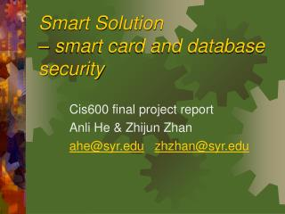 Smart Solution    smart card and database security