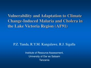 Vulnerability and Adaptation to Climate Change-Induced Malaria and Cholera in the Lake Victoria Region AF91