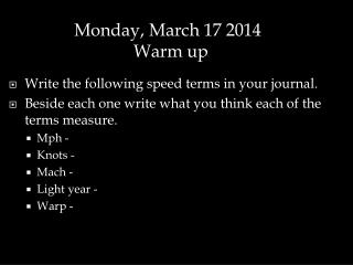 Write the following speed terms in your journal.