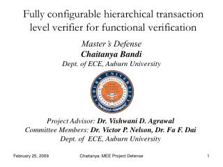 Fully configurable hierarchical transaction level verifier for functional verification