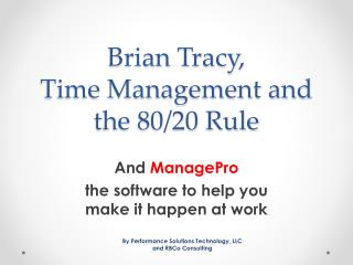 Brian Tracy,  Time Management and the 80/20 Rule
