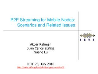 P2P Streaming for Mobile Nodes: Scenarios and Related Issues