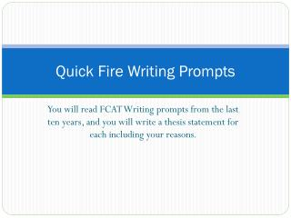Quick Fire Writing Prompts