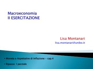 Macroeconomia II ESERCITAZIONE
