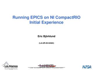 Running EPICS on NI CompactRIO Initial Experience