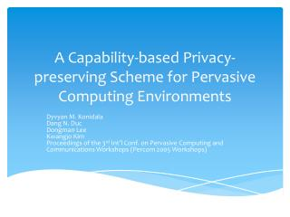A  C apability-based  P rivacy-preserving Scheme for Pervasive Computing Environments