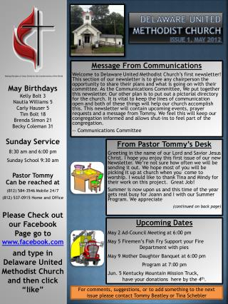 Delaware United Methodist Church Issue 1, May 2012