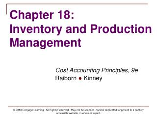 Chapter 18: Inventory and Production Management