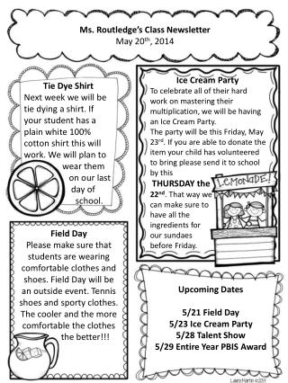 Ms. Routledge's Class Newsletter May  20 th , 2014