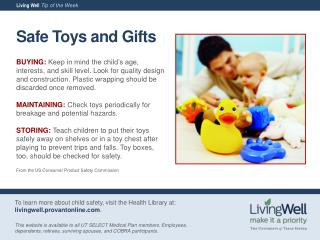 Safe Toys and Gifts