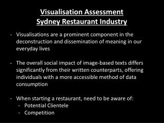 Visualisation  Assessment  Sydney Restaurant Industry