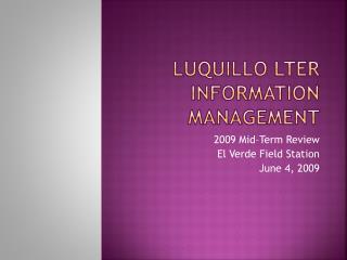 Luquillo  LTER Information Management