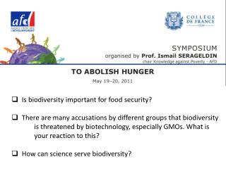 Is  biodiversity important for food security ?
