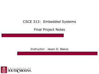 CSCE 313:  Embedded Systems Final Project Notes