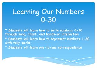 Learning Our Numbers  0-30