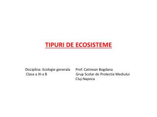 TIPURI DE ECOSISTEME