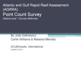 Atlantic and Gulf Rapid Reef Assessment (AGRRA) Point Count Survey (Basic/Level 1 Survey Methods)