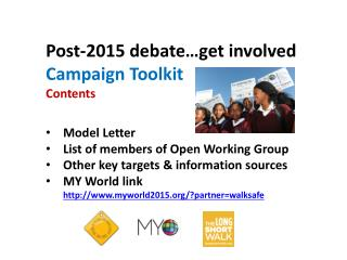 Post-2015 debate…get involved Campaign Toolkit  Contents Model Letter