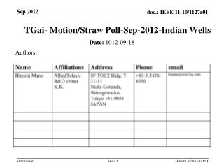 TGai - Motion/Straw Poll - Sep - 2012 -Indian Wells