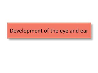 Development of the eye and ear