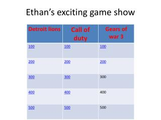 Ethan's exciting game show