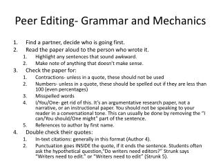 Peer Editing- Grammar and Mechanics