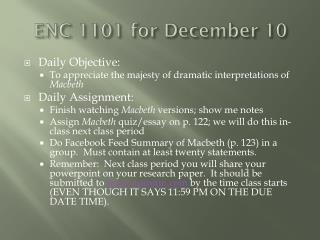 ENC 1101 for December 10