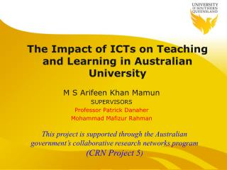 The Impact of ICTs on Teaching and Learning in Australian University