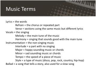 Music  Terms