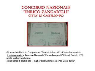 """CONCORSO NAZIONALE """"ENRICO  Z ANGARELLI """" CITTA'  DI  CASTELLO (PG )"""
